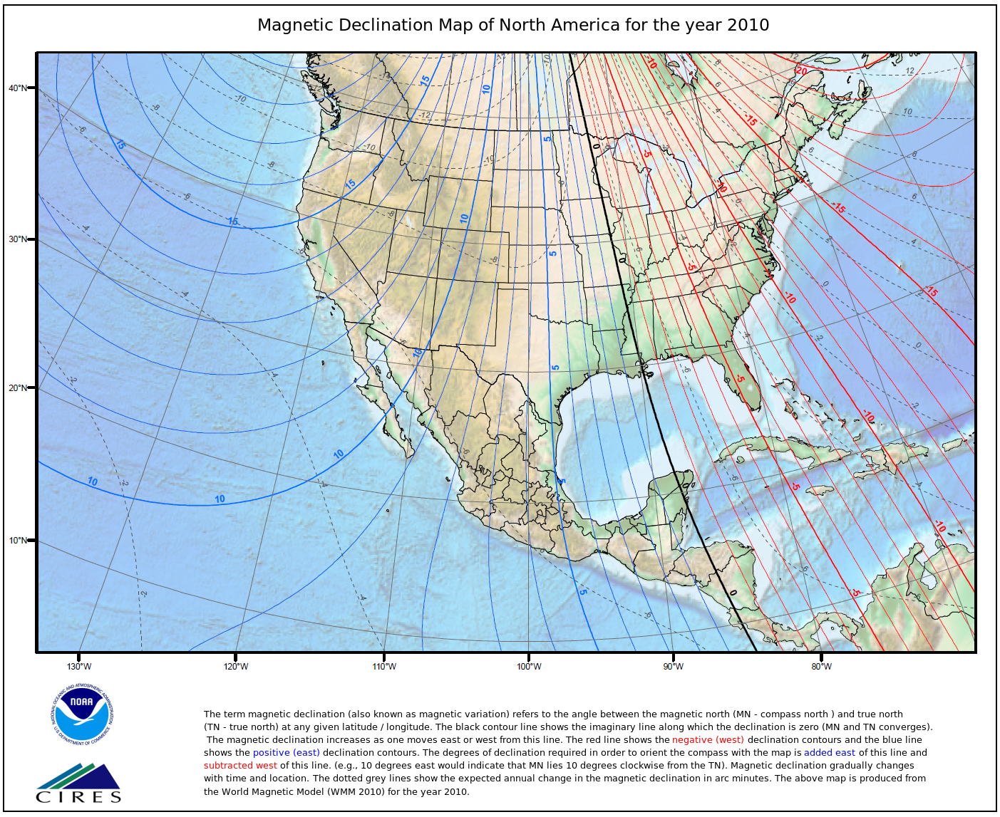 Magnetic Declination - Us map with compass